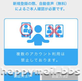 ハッピーメール無料登録時の電話番号の認証画面