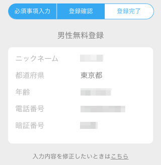 ハッピーメール無料登録時の入力内容の確認画面